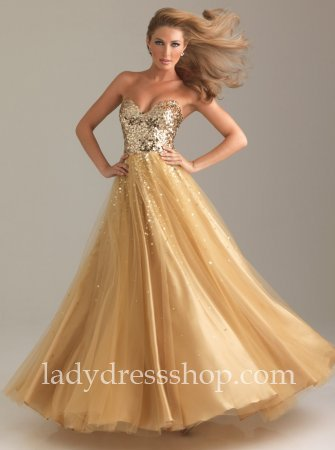 Moves 6499 Strapless Gold Full Length Embellished Ball Gown Sale ...