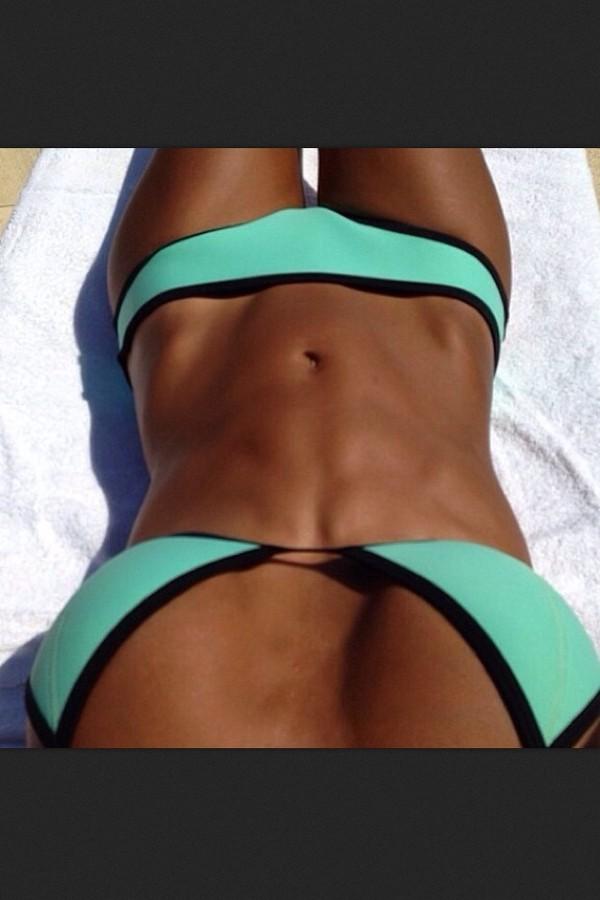 swimwear neon bikini triangle bikini nein neon colorful turquoise black bikini bikini neon