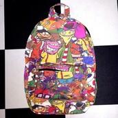 bag,cartoon,backpack,bookbag,cartoon network characters,ed edd & eddy,courage the cowardly dog,hey arnold,rugrats,90s style,catdog