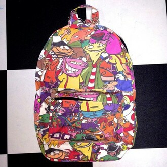 bag cartoon backpack bookbag cartoon network characters ed edd & eddy courage the cowardly dog hey arnold rugrats 90s style catdog