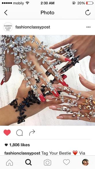 jewels bracelets crystal gloves