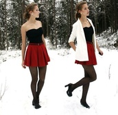 skirt,winter outfits,christmas,red skirt,blazer,white,black,polka dots,jacket,pants,shirt,tights,shoes,red mini skirt,dress,belt,bustier,jeans,coat,fall outfits,dressy,cute,snow,red,lovely,chic,fancy,casual,winter dress,tank top,underwear,white coat,pretty,outfit,black bustier,white jacket,black heels,rd skirt,bag,hot,snow white,top,style,outfils,outfil,love,skirts and tops,cardigan,red skier