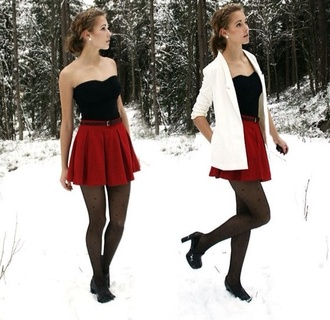 skirt winter outfits christmas red skirt blazer white black polka dots jacket pants shirt tights shoes coat white coat red pretty outfit dress black bustier white jacket black heels leggings