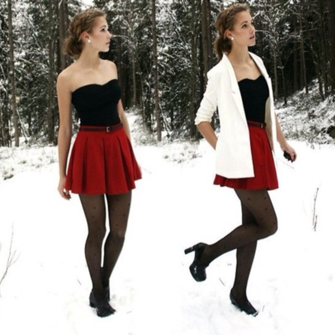 Winter Outfits With Skater Skirts Skirt Winter Outfits Christmas