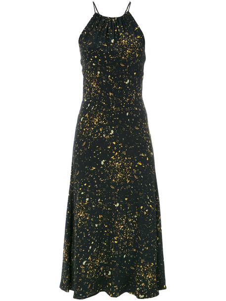 dress midi dress women midi print black silk