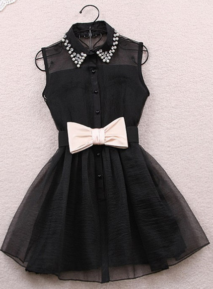 dress little black dress noeud