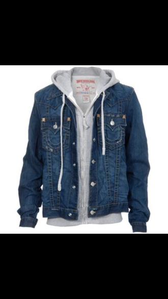 coat jeans denim jacket grey true religions true religion hoodie jacket