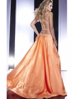 Buy Stunning Orange Beadings Straps Elastic Woven Satin Prom Dress  under 200-SinoAnt.com