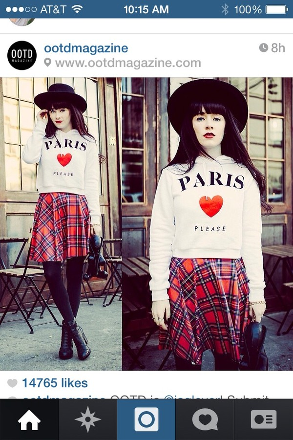 skirt paris sweater plaid skirt