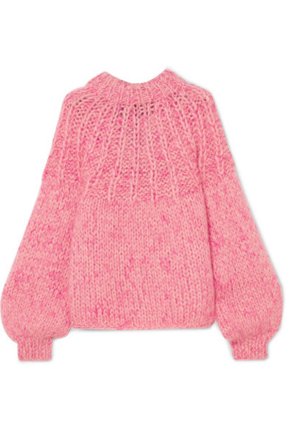 Ganni sweater bow embellished mohair wool pink
