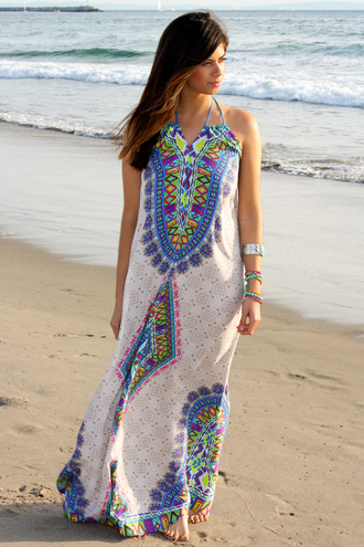dress beach dress beach summer summer dress spring spring break spring dress maxi dress bohemian bohemian dress boho chic boho boho dress jewelry indie tribal pattern cute cute dress girly fashion style lookbook