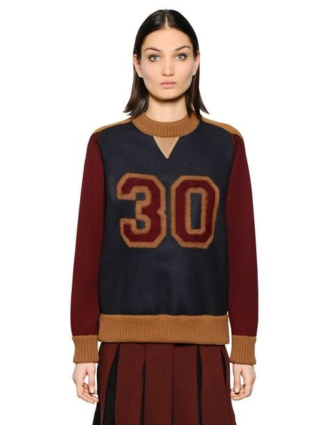 sweater wool sweater varsity wool navy