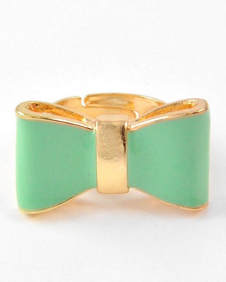 Mint Green Enamel Bow Tie w/ Gold Trim Designer Inspired Adjustable Ring | eBay
