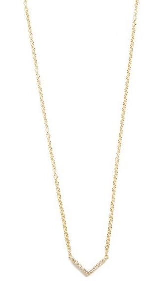 mini necklace gold chevron jewels