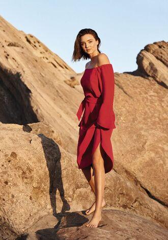 dress red dress miranda kerr mini dress editorial model off the shoulder