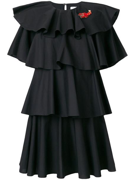 VIVETTA dress ruffle dress ruffle women spandex cotton black