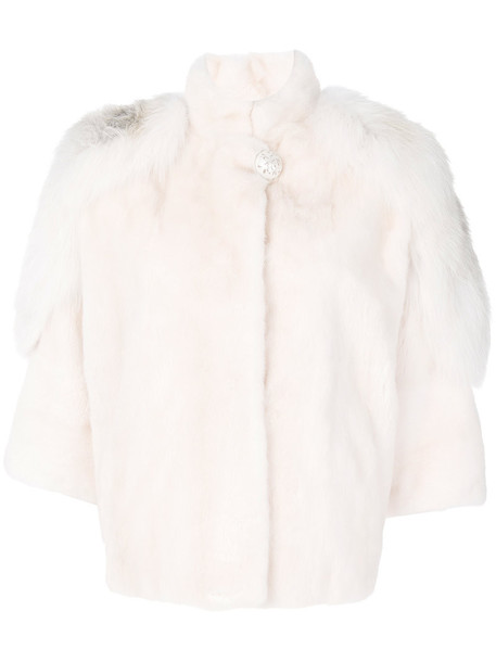 jacket mini fur fox women nude silk
