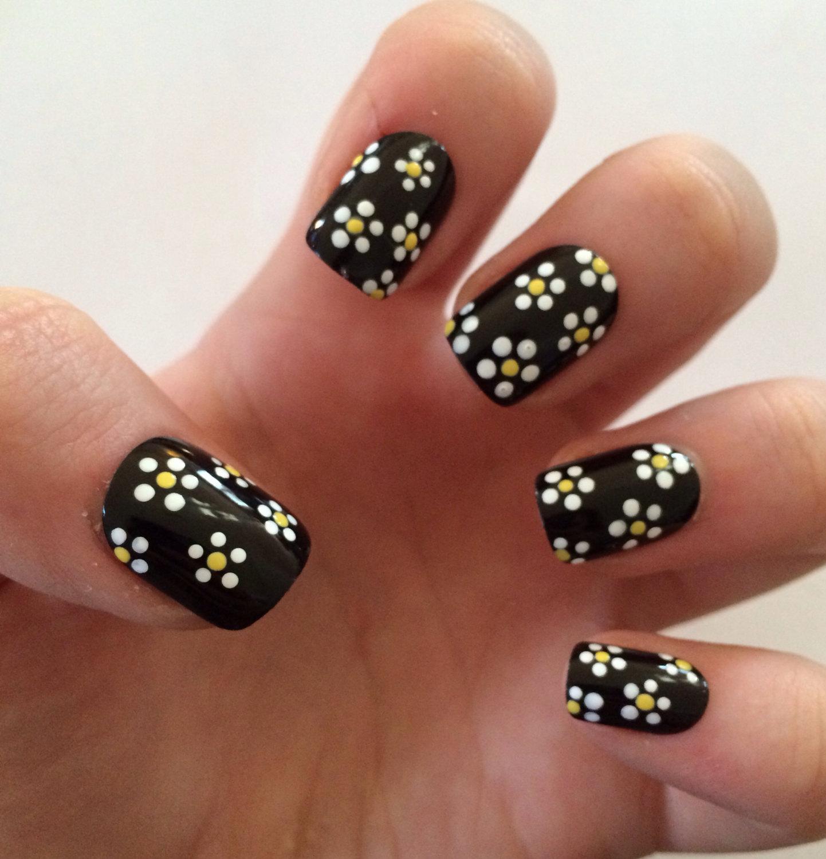 fake nails, floral nail art, black acrylic nails