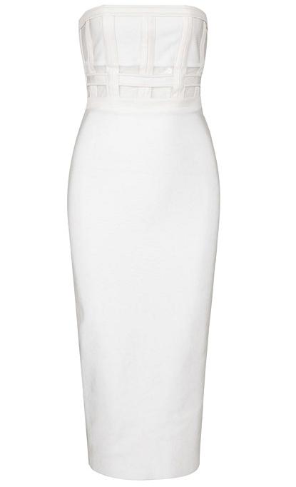 Faux Leather Detail Bandeau Midi Bandage Dress White