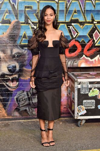 dress midi dress sandal heels sandals bustier dress zoe saldana
