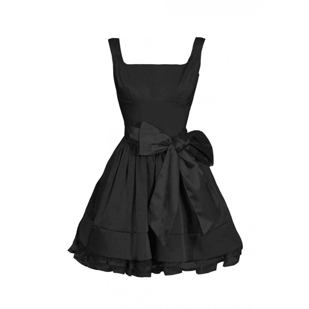 Satin bow prom dress black