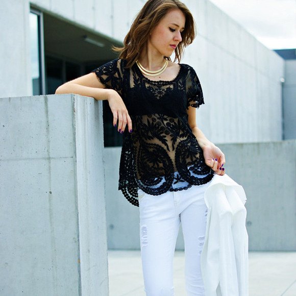 shirt clothes lace shirt t-shirt