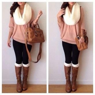 shoes light brown tied bots leggings sweater bag