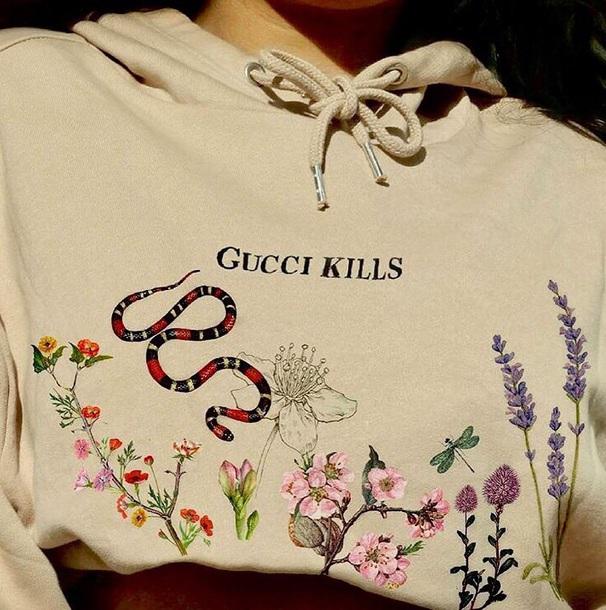 blouse hoodie gucci elbaz paris floral fashion my fav snake nude sweatshirt