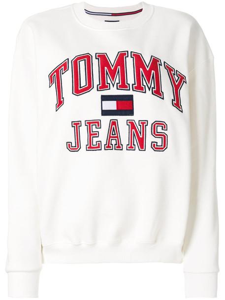 tommy jeans sweatshirt women white cotton print sweater