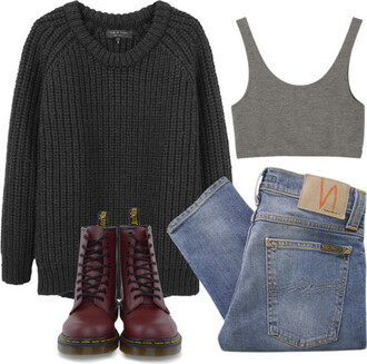 sweater pants outfit indie hipster grunge drmartens crop tops shirt tank top jeans cardigan top grey crop shoes