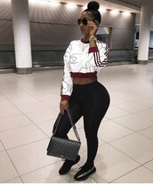 top,glasses,bun,melanin,bernice burgos,curvy,body,black girls killin it,leggings,pants,black,watch,yeezy,chanel,chanel bag,bag,purse,style,adidas supercolor,cropped sweater