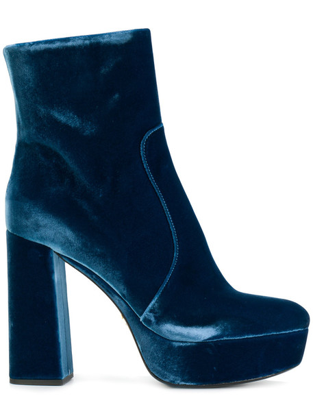Prada women ankle boots leather blue velvet shoes
