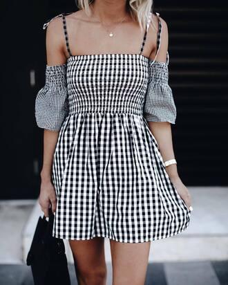 dress tumblr mini dress gingham off the shoulder off the shoulder dress printed dress gingham dresses