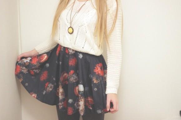 roses skater skirt cropped sweater
