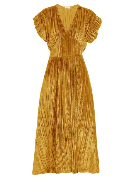 MASSCOB dress midi dress midi velvet gold