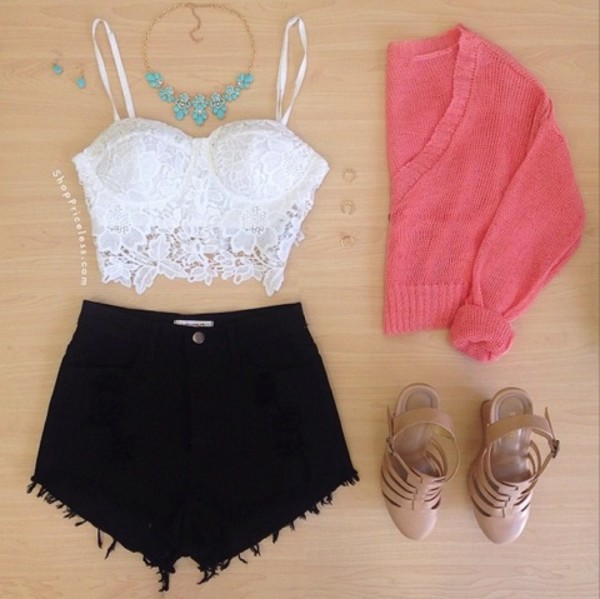 shorts jewels shoes sweater necklace blouse white crop tops summer shirt lace tank top top