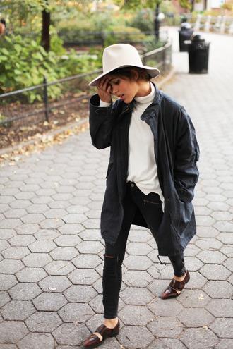 trop rouge blogger jacket jeans hat shoes parka black jeans