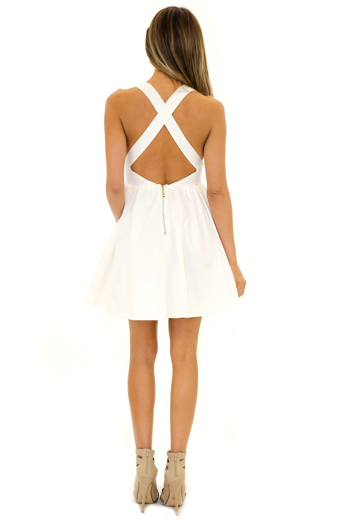 HELENA CUTOUT BABYDOLL DRESS - White | Haute & Rebellious