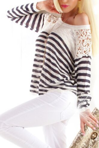 sweater white black lace fashion cute casual trendy top stripes see through clothes fall outfits summer girly