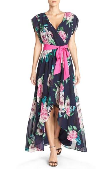 68e53b4af665c Eliza J Floral Print Chiffon High/Low Dress | Nordstrom