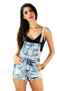 Frayed destroyed bib pocket light acid wash 11508 shortalls overalls large