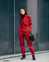jumpsuit,red,sock boots,black boots,mid heel boots,handbag,crocodile,turtleneck
