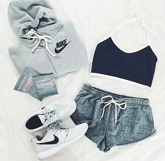 shirt black crop tops workout outfit sportswear nike sports bra shorts grey comfy sleepwear shoes tennis shoes jacket lazy day outfit grey sweater sweater gray grey nike black