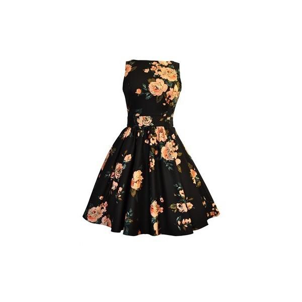 Black dress rose print