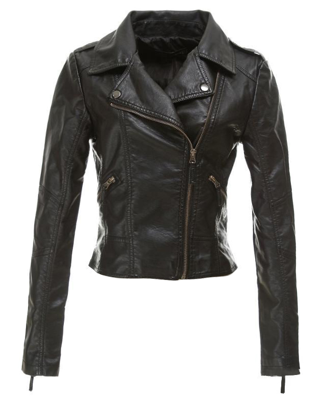 Black soft pu slim jacket