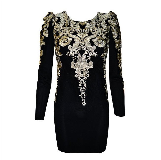 fashion gold Embroidered Vintage Puff Sleeve Dress  from FE CLOTHING on Storenvy