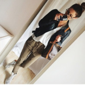 green,khaki,jeans,love more,khaki pants,this outfit,outfit,shoes,blouse,jacket