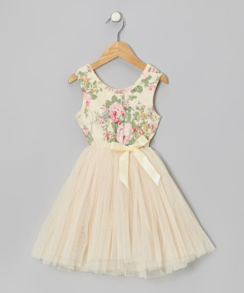 Cream Floral Tulle A-Line Dress - Toddler & Girls | something special every day