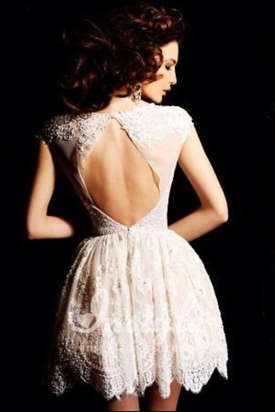 dress cream lace short evening dress open back oval cut out