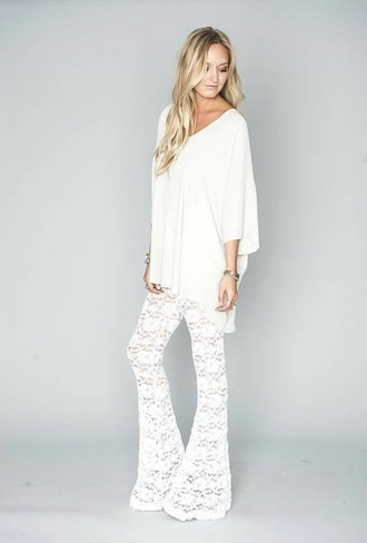 pants lace white lace lace pants wide-leg pants